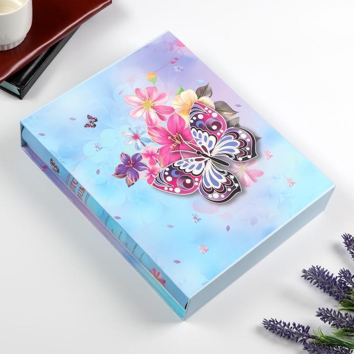 "Фотоальбом на 200 фото 13х18 см ""Бабочка и цветы"" в коробке МИКС 29,5х23,5х5,5 см   50678"