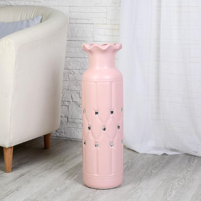 """Ваза напольная керамика """"Вилена"""" 17*60 см, розовый"""
