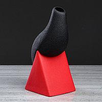 """Ваза настольная """"Шик"""" текстура, красно-чёрная, 28 см, фото 1"""