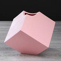 """Ваза настольная """"Куб"""", розовая, 12 см, фото 1"""
