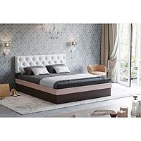 Кровать Луара-3 1400 ортопед.ламели, 1450х2050х990, Венге/Дуб молоч/Белый, карет стяжка
