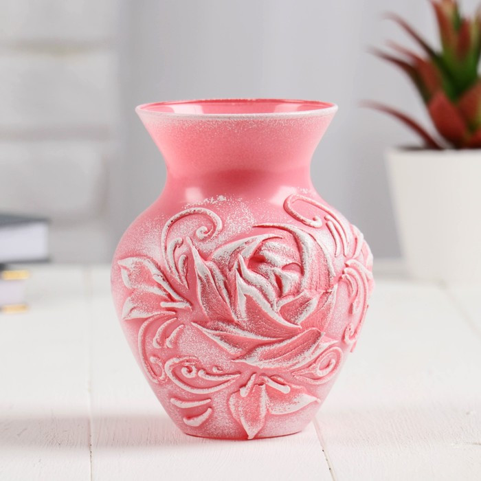 """Ваза """"Роза"""" барельеф розовая h14х10,5; d-8см"""