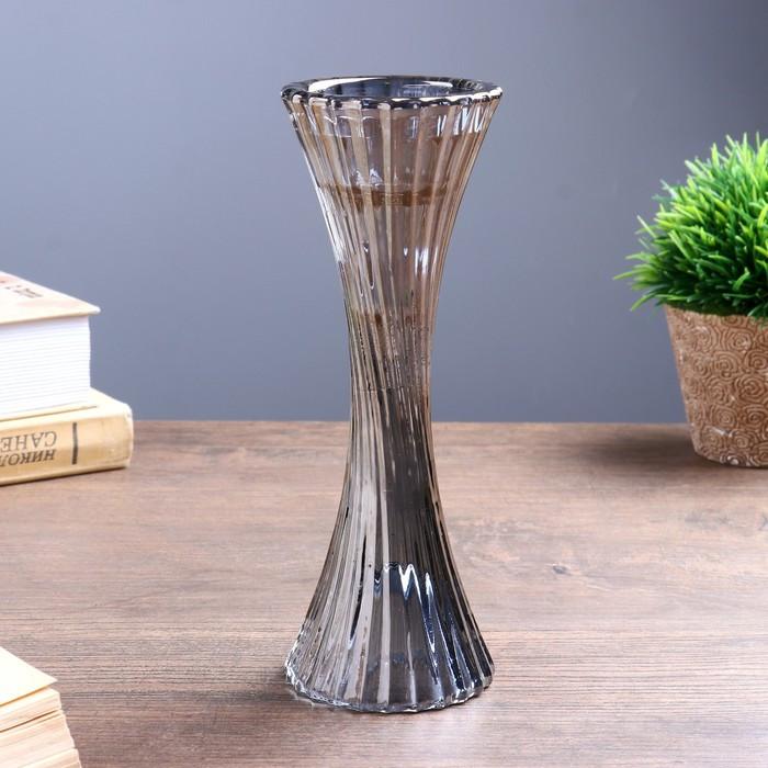 """Подсвечник стекло на 1 свечу """"Виток"""" графит 19,5х7х7 см"""