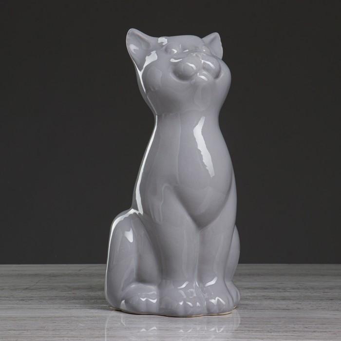 """Ваза настольная """"Кошка"""", серая , 25 см"""