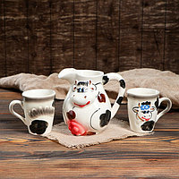 "Набор сливочный ""Корова"", символ года 2021, 3 предмета: кувшин 1 л, чашки 0.25 л"