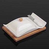 Маслёнка на деревянной подставке «Эстет», 21×14,2 ×8,5см, с ножом