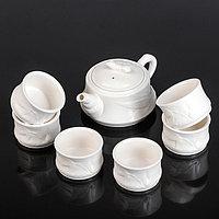 """Набор для чайной церемонии """"Снег"""", 7 предметов: чайник 230 мл, 6 чашек 80 мл"""