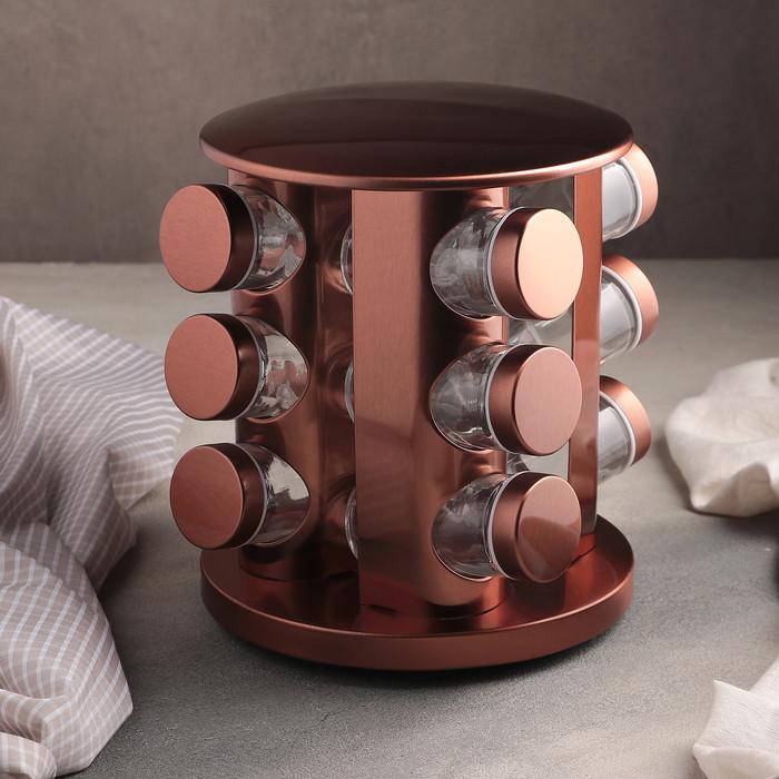 Набор для специй «Профи», 12 предметов, 19×19×20 см, цвет бронза