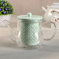 Чайник с керамическим ситом «Нежность», 400 мл, цвет мятный