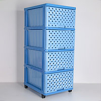 Комод 4-х секционный «Сетка», цвет голубой