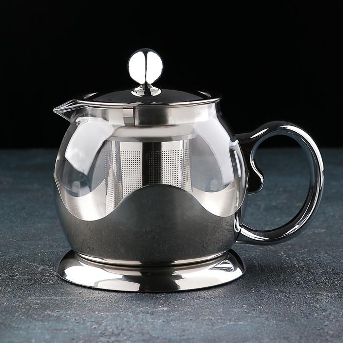 Чайник заварочный «Роскошь», 800 мл, 17×12×13,5 см, цвет металлик