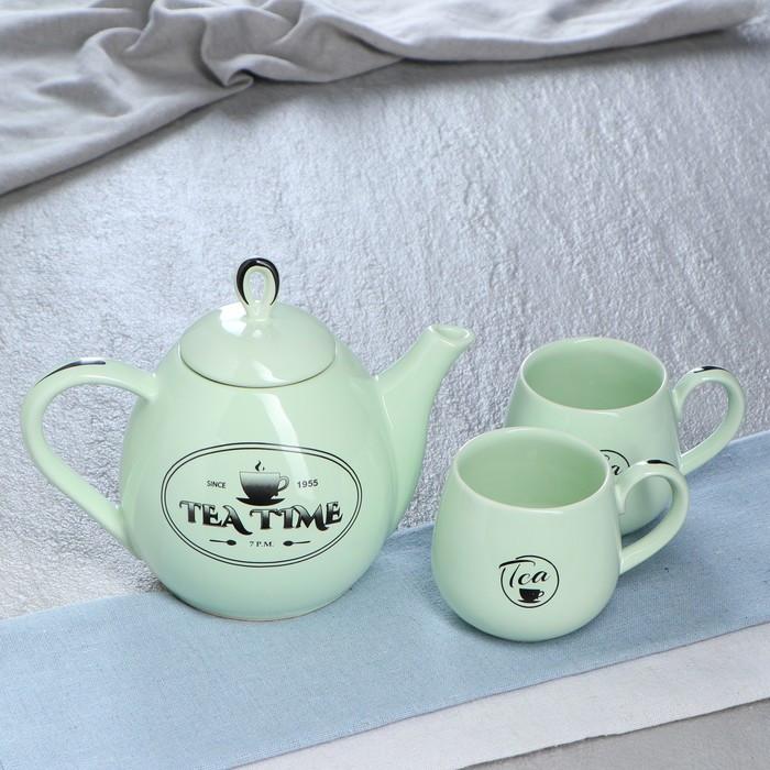 """Чайный набор """"Петелька"""" чайник 0,8 л, чашка 0,22 л, мята, глазурь, рисунок"""