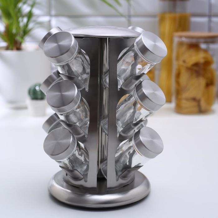 Набор для специй «Профи», 12 предметов, 22×22×25,5 см, цвет металлик