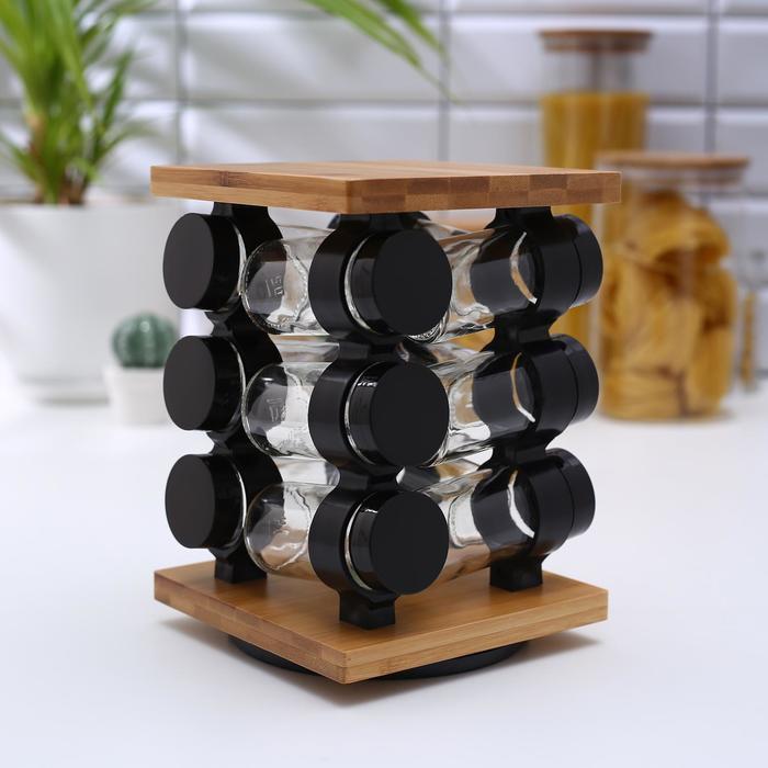Набор для специй «Эко», 12 предметов, 15,5×15,5×21,5 см