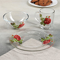 "Набор для завтрака ""Алая роза"", 3 предмета: тарелка 20 см, салатник 13 см, кружка 250 мл, фото 1"