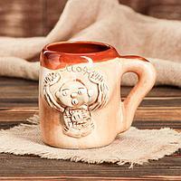 """Кружка для пива """"Бюст"""", шамот, декорированная глиной, глазурь, 0.5 л, микс, фото 1"""