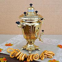 Самовар «Золото», рюмка, 2,5 л, жаровой, труба входит в комплектацию