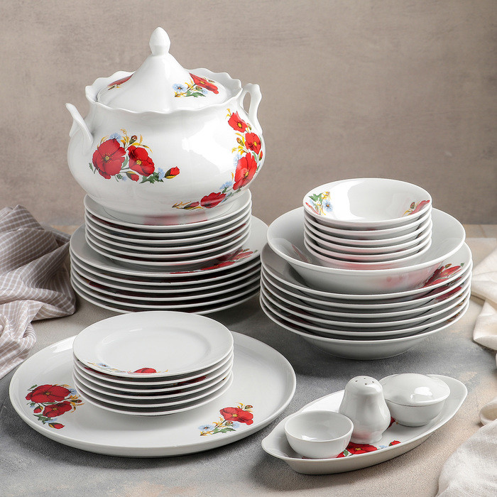 Сервиз столовый «Идиллия. Маки красные», 37 предметов, 4 вида тарелок