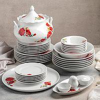 Сервиз столовый «Идиллия. Маки красные», 37 предметов, 4 вида тарелок, фото 1