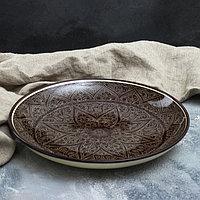 Ляган круглый, 31 см, риштанская роспись, коричневый, фото 1