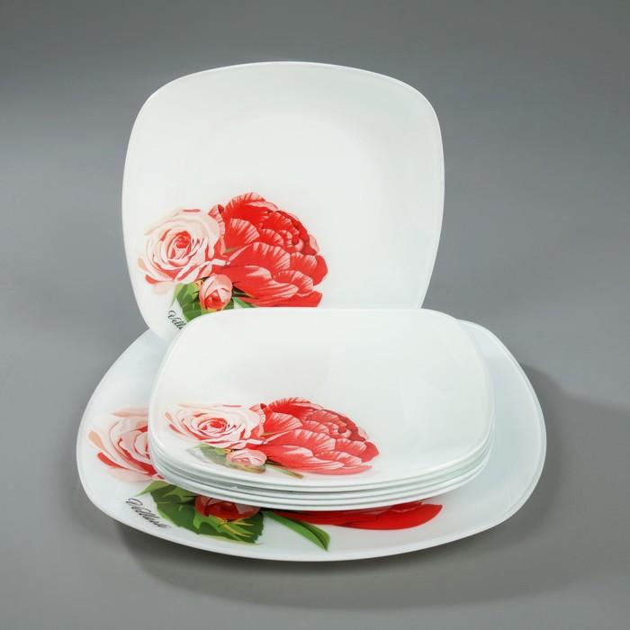 """Сервиз столовый """"Розы"""", 7 предметов: 1 шт 27,1 cм, 6 шт 20,5 cм, в подарочной упаковке"""