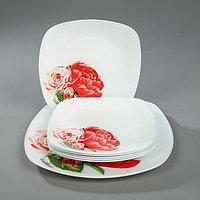"""Сервиз столовый """"Розы"""", 7 предметов: 1 шт 27,1 cм, 6 шт 20,5 cм, в подарочной упаковке, фото 1"""