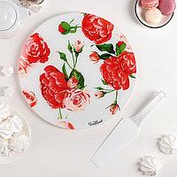 """Блюдо 30 см """"Розовый рай"""", с лопаткой, в подарочной упаковке, фото 1"""