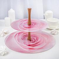 """Этажерка 2 яруса """"Розовая роза"""", плоская, в подарочной упаковке, фото 1"""