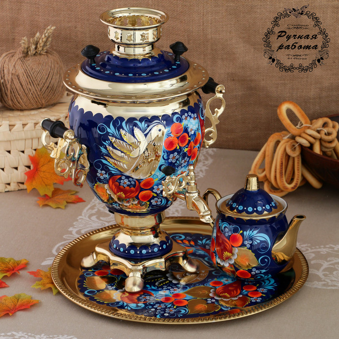 Набор «Птица на синем», жёлудь, 3 предмета, самовар 3 л, заварочный чайник 0,7 л, поднос