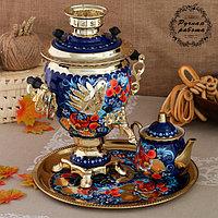 Набор «Птица на синем», жёлудь, 3 предмета, самовар 3 л, заварочный чайник 0,7 л, поднос, фото 1