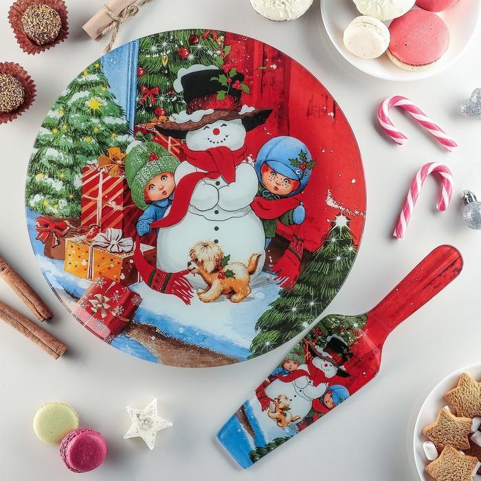 Тортовница «Снеговик в доме!», 30 см, с лопаткой