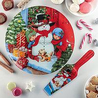 Тортовница «Снеговик в доме!», 30 см, с лопаткой, фото 1