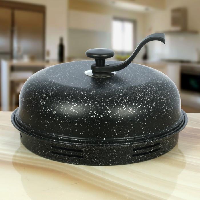 Сковорода 33 см «Гриль-газ» , мраморное покрытие, съёмная ручка