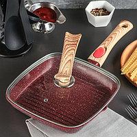 Сковорода-гриль литая «Рубин», 24×3,5 см, стеклянная крышка, съёмная ручка, индукция, фото 1