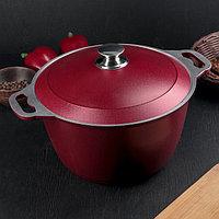 Кастрюля с декоративным покрытием, 6 л, цвет бордовый