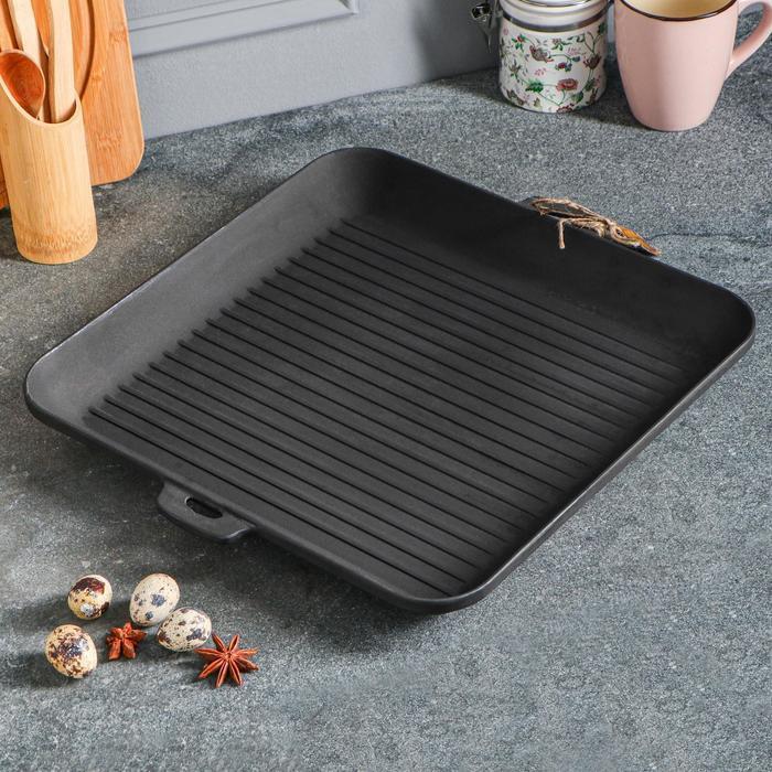 Сковорода чугунная квадрат гриль, 350 х 350 х 40 мм, премиум набор - фото 1