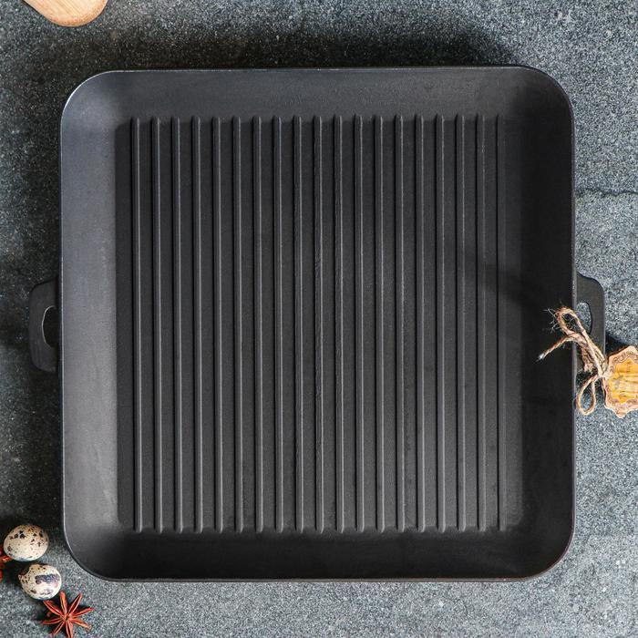 Сковорода чугунная квадрат гриль, 350 х 350 х 40 мм, премиум набор - фото 3