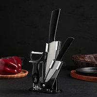 Набор кухонный, на подставке, 3 предмета, цвет чёрный, фото 1