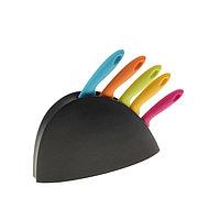 Набор кухонных ножей, 5 шт, лезвие 8,5/11/11,5/12,5 см, на подставке, цвет МИКС, фото 1