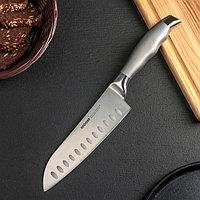Нож кухонный NADOBA MARTA Сантоку, лезвие 17,5 см, ручка из стали
