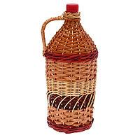Бутылка 2 л «Винная. Виноград», оплетка прутьями лозы