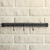 Держатель для ножей магнитный с крючками, 34 см