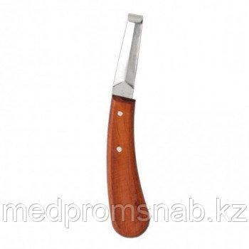 Нож ветеринарный копытный обоюдоострый малый с деревянной ручкой