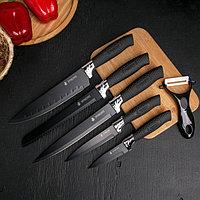 Набор ножей «Тень», 6 предметов: 5 ножей: 19 / 23 / 32 / 32 / 32×4 см, овощечистка керамик