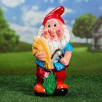 """Садовая фигура """"Гном с колосками"""", глянец, разноцветный, 36 см"""