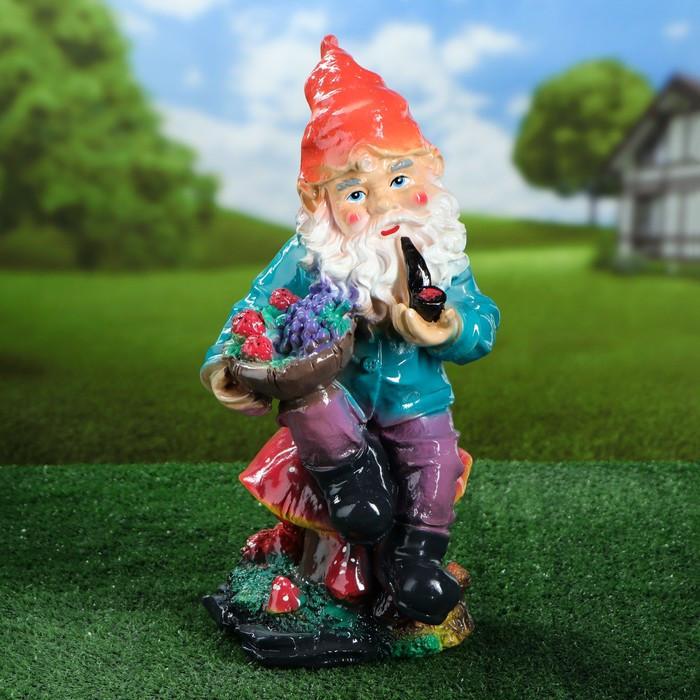 """Садовая фигура """"Гном на грибе"""", разноцветный, 44,5 см, микс"""