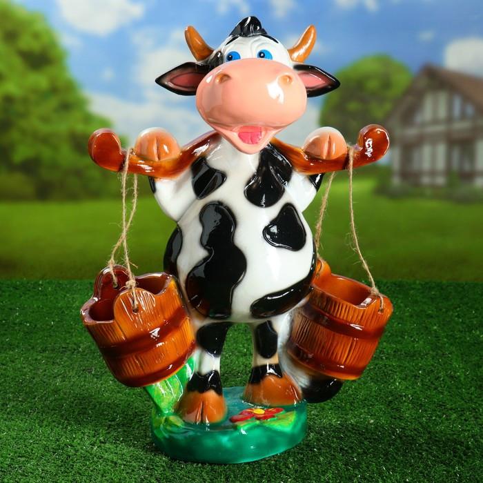 """Садовая фигура """"Корова с ведрами"""" 47 см"""