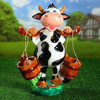 """Садовая фигура """"Корова с ведрами"""" 47 см, фото 1"""