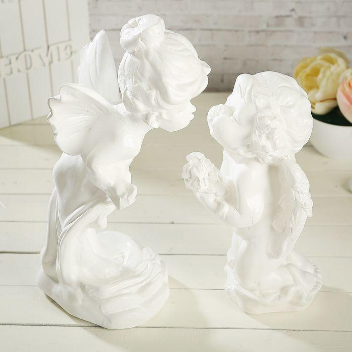 """Статуэтка """"Ангел и мотылёк"""", 2 шт, белая, 29 см - фото 1"""