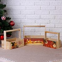 """Набор кашпо """"Новогодний №1"""" 3 в 1, из массива СОСНЫ, деревянная ручка, натуральный"""